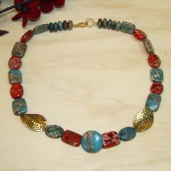 After Hours Blue and Dark Orange Variscite Gold-plated Necklace
