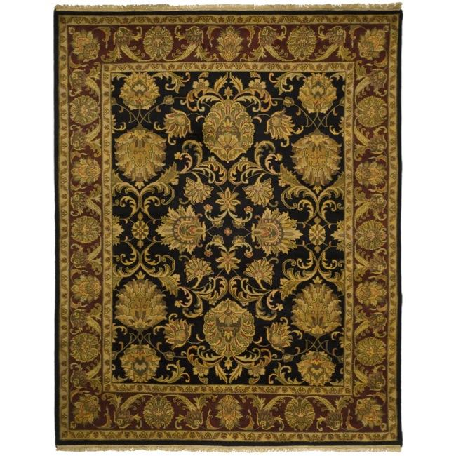 Indo Hand-knotted Jaipur Treasures Black/ Burgundy Wool Heirloom Rug (9' x 12')