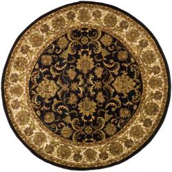 Indo Hand-knotted Jaipur Treasures Black/ Ivory Wool Heirloom Rug (8' Round)