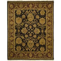Indo Hand-knotted Jaipur Treasures Black/ Burgundy Wool Heirloom Rug (9' x 12')