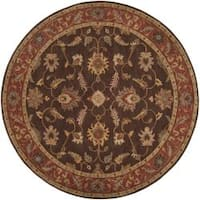 Hand-tufted Coliseum Brown Floral Border Wool Area Rug (8' Round)