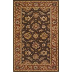 Hand-tufted Coliseum Brown Floral Border Wool Rug (9' x 12')