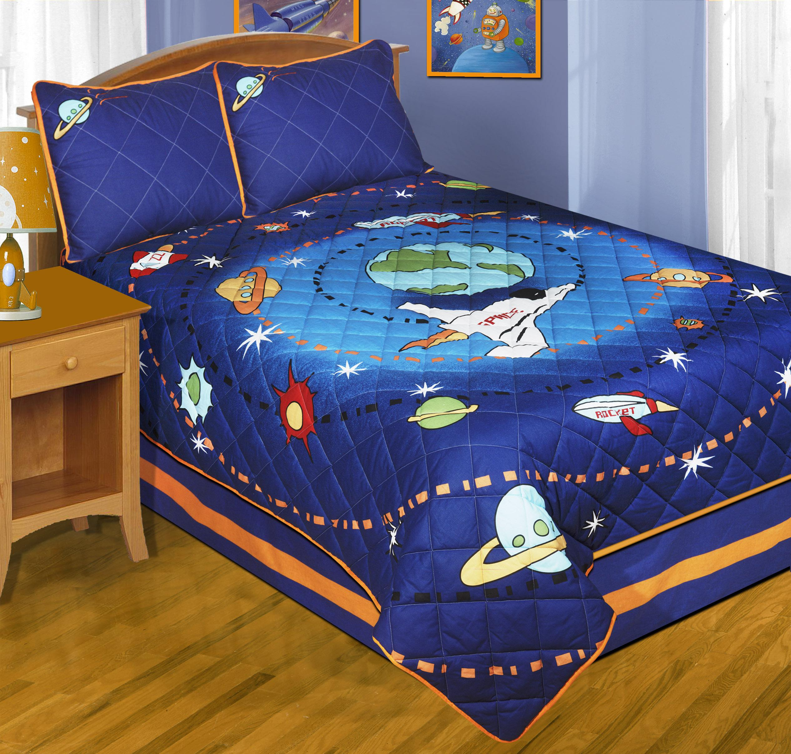 Space journey patchwork 4 piece quilt set free shipping for Spaceship quilt