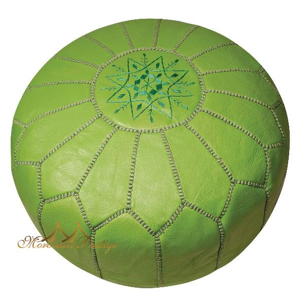 Leather Lime Green Pouf Ottoman (Morocco) - Thumbnail 0