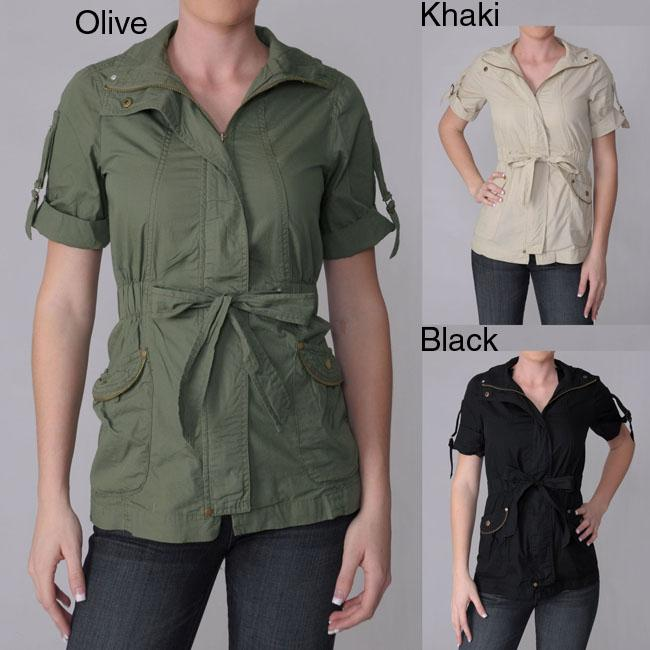 Ci Sono by Journee Juniors Zippered Short-sleeve Jacket