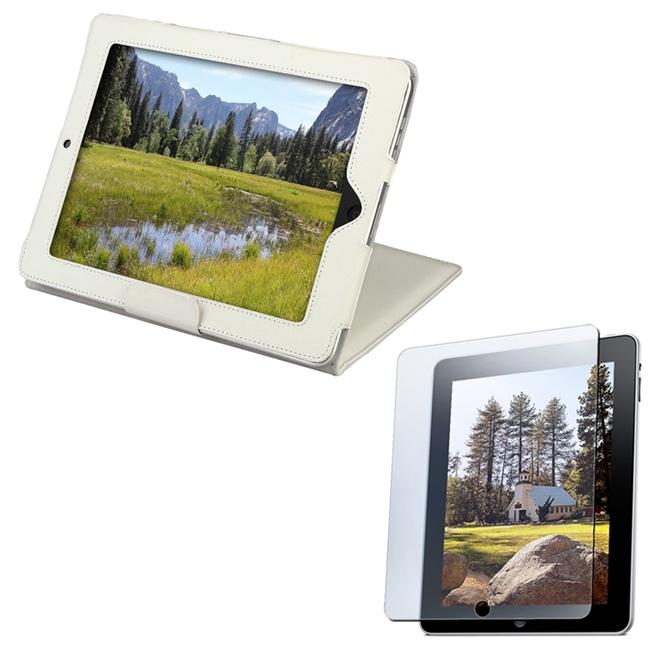 White Leather Case with Screen Protector for Apple iPad