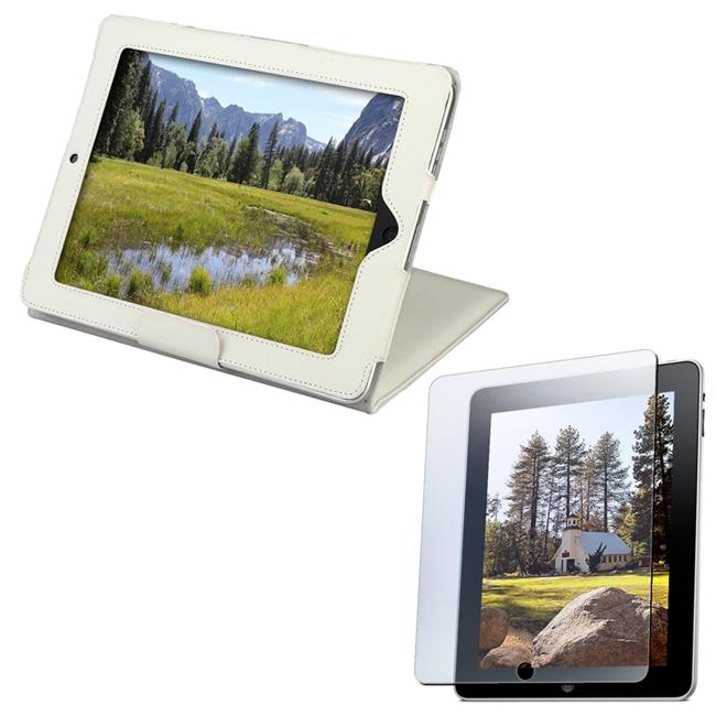 White Leather Case with Anti-glare Screen Protector for Apple iPad