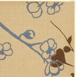 Safavieh Courtyard Floral Branches Natural/ Blue Indoor/ Outdoor Rug (2'7 x 5') - Thumbnail 1