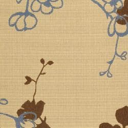 Safavieh Courtyard Floral Branches Natural/ Blue Indoor/ Outdoor Rug (2'7 x 5') - Thumbnail 2