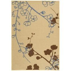 """Safavieh Courtyard Floral Branches Natural/ Blue Indoor/ Outdoor Rug (4' x 5'7"""")"""