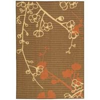 Safavieh Courtyard Brown/ Terracotta Indoor/ Outdoor Rug - 4' x 5'7