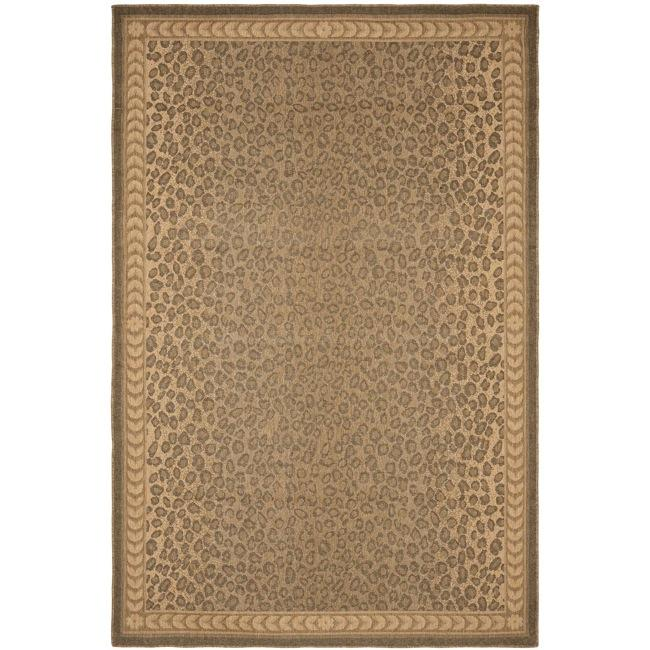 Safavieh Courtyard Natural/ Gold Leopard Print Indoor/ Outdoor Rug - 9' x 12'