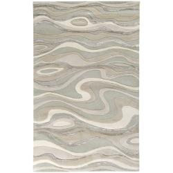 Hand-tufted Divine Ivory Abstract Waves Wool Rug (5' x 8')
