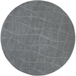 Loomed Carved Grey Abstract Plush Wool Rug (8' Round)
