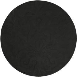 Loomed Black Damask Pattern Wool Rug (8' Round)