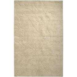 Loomed Beige Damask Pattern Wool Rug (3'3 x 5'3)