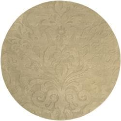 Candice Olson Loomed Beige Damask Pattern Wool Rug (8' Round)