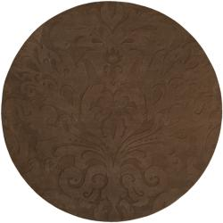 Loomed Chocolate Damask Pattern Wool Rug (8' Round)