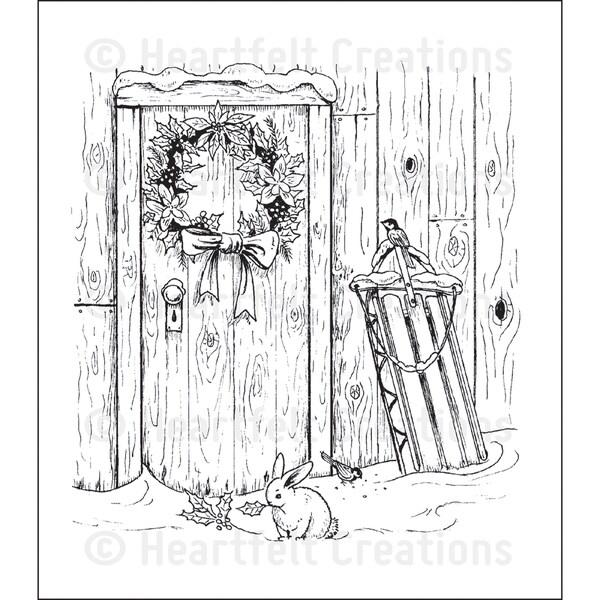 Heartfelt Creations 'Festive Yuletide Doorway' 5x6.5-inch Cling Rubber Stamp Set