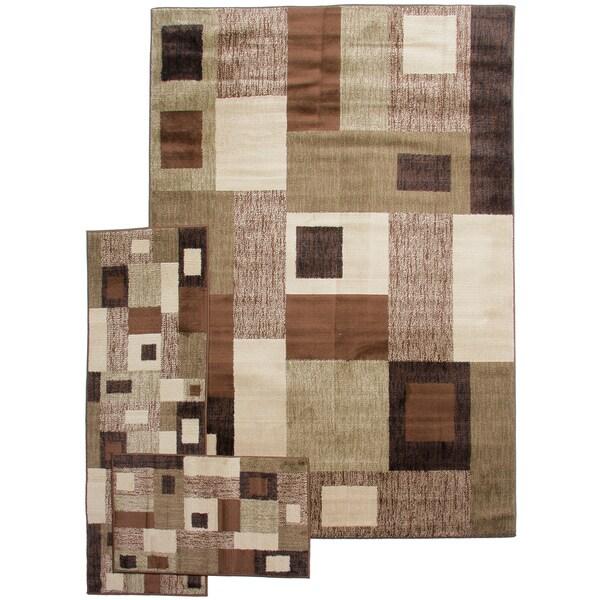 Midnight Walk Geometric Patch Brown/ Green 3-piece Rug Set