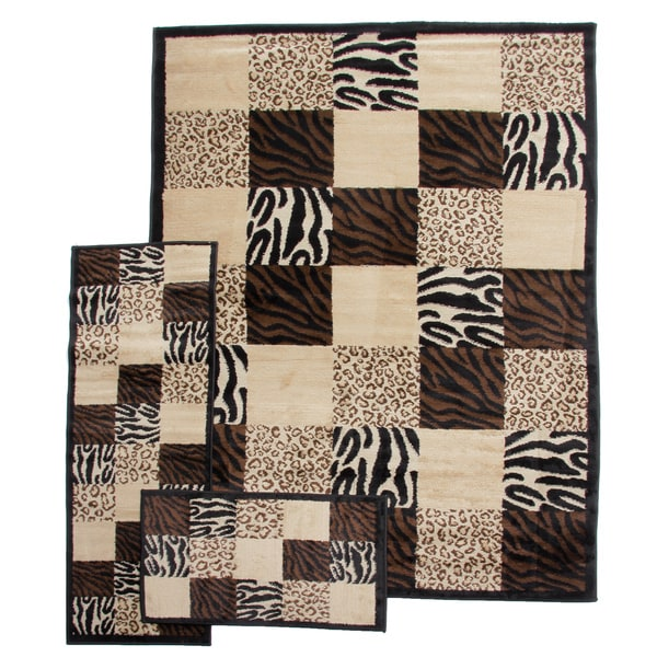 Desire Animal Prints Patch Black 3-piece Rug Set