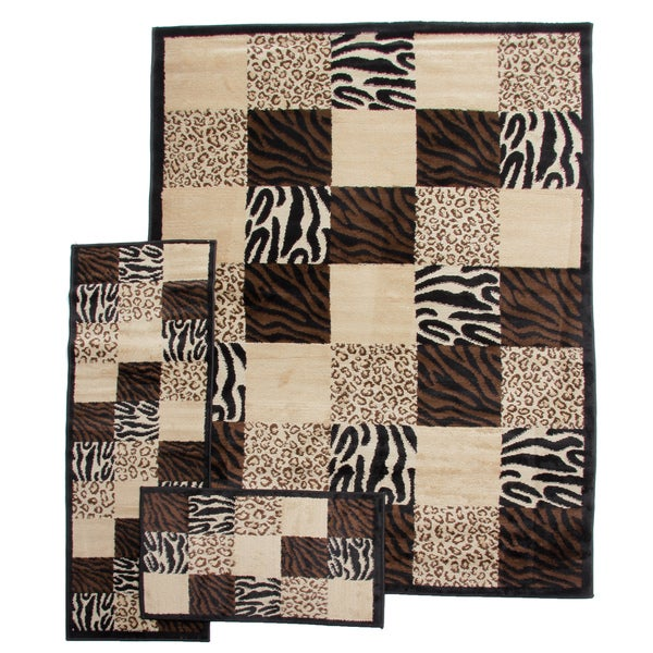 Zebra Leopard Animal Prints Patchwork Black 3-piece Rug Set