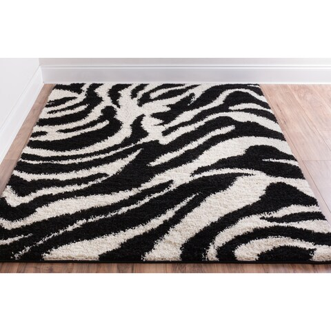 Well Woven Shag Plush Black Ivory Zebra Animal Print Super Thick Area Rug - 3'3 x 5'3
