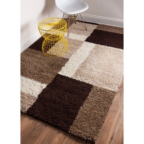 Shag Plush Beige, Brown, and Ivory Geometric Modern Contemporary Color Block Area Rug - 3'3 x 5'3