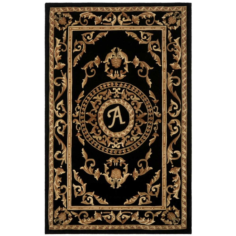 Safavieh Handmade Monogram A Black New Zealand Wool Rug