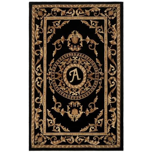 Safavieh Handmade Monogram A Black New Zealand Wool Rug