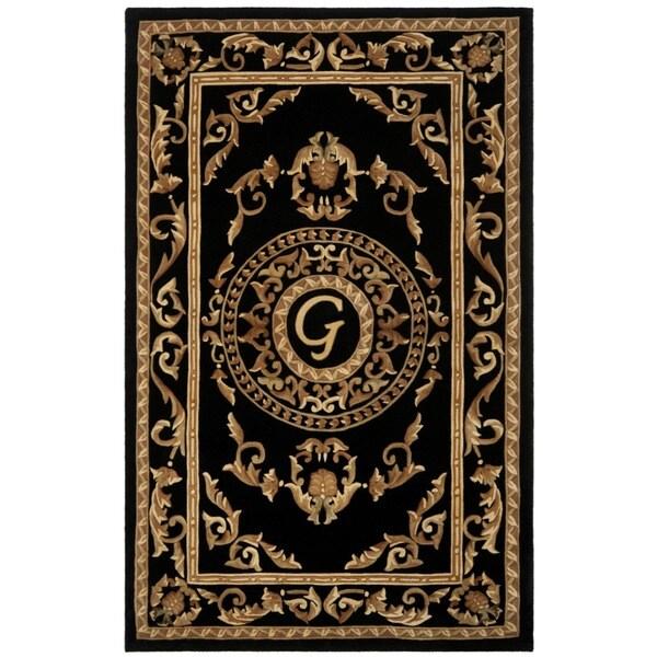 Safavieh Handmade Monogram G Black New Zealand Wool Rug