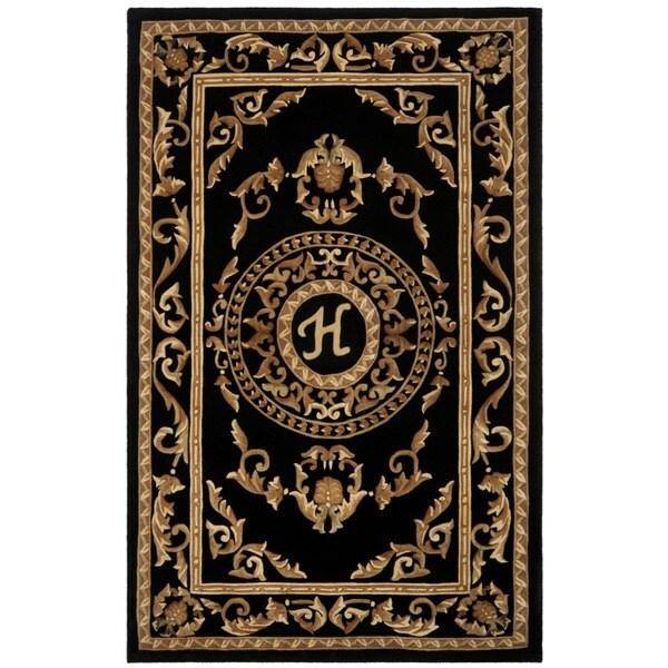 Safavieh Handmade Monogram H Black New Zealand Wool Rug
