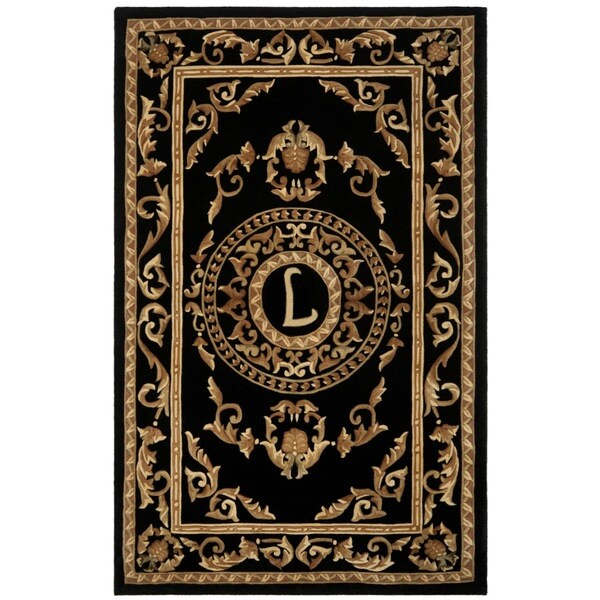 Safavieh Handmade Monogram L Black New Zealand Wool Rug