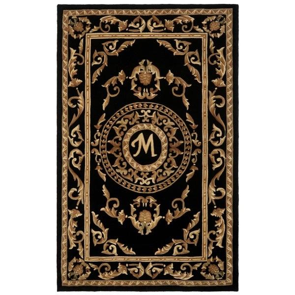 Safavieh Handmade Monogram M Black New Zealand Wool Rug