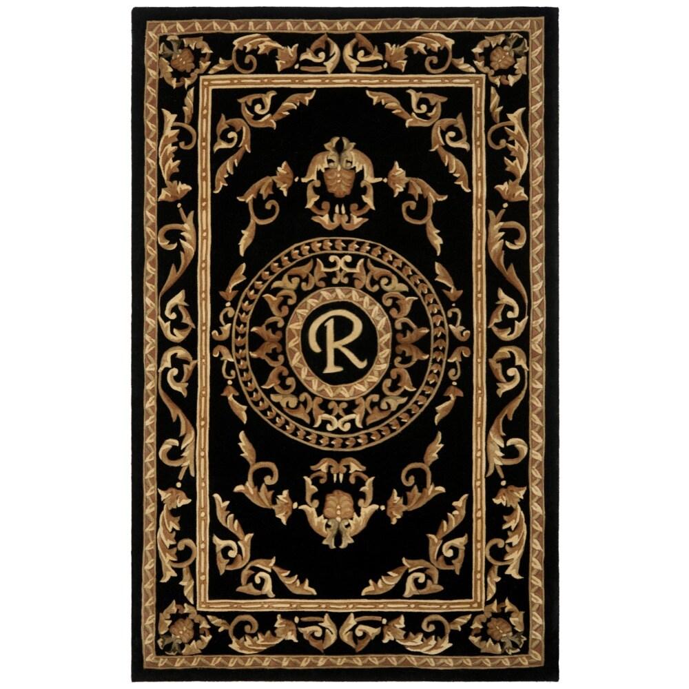 Safavieh Handmade Monogram R Black New Zealand Wool Rug