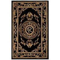Safavieh Handmade Monogram R Black New Zealand Wool Rug