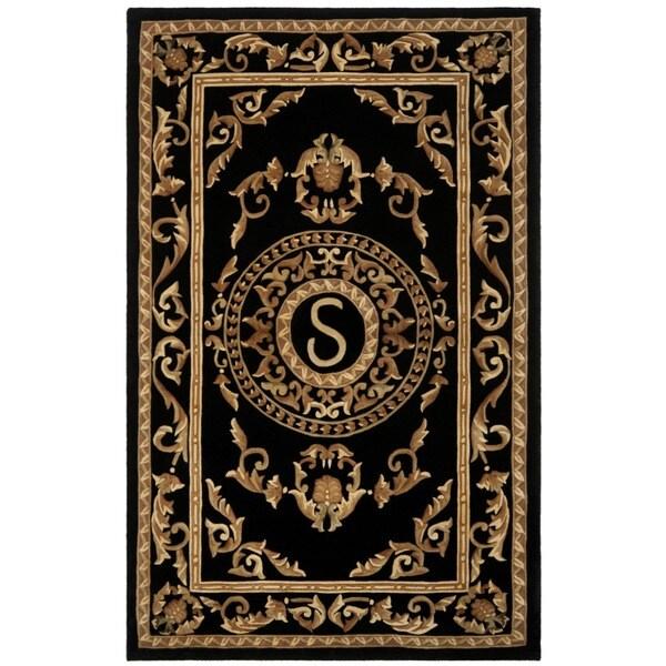 Safavieh Handmade Monogram S Black New Zealand Wool Rug