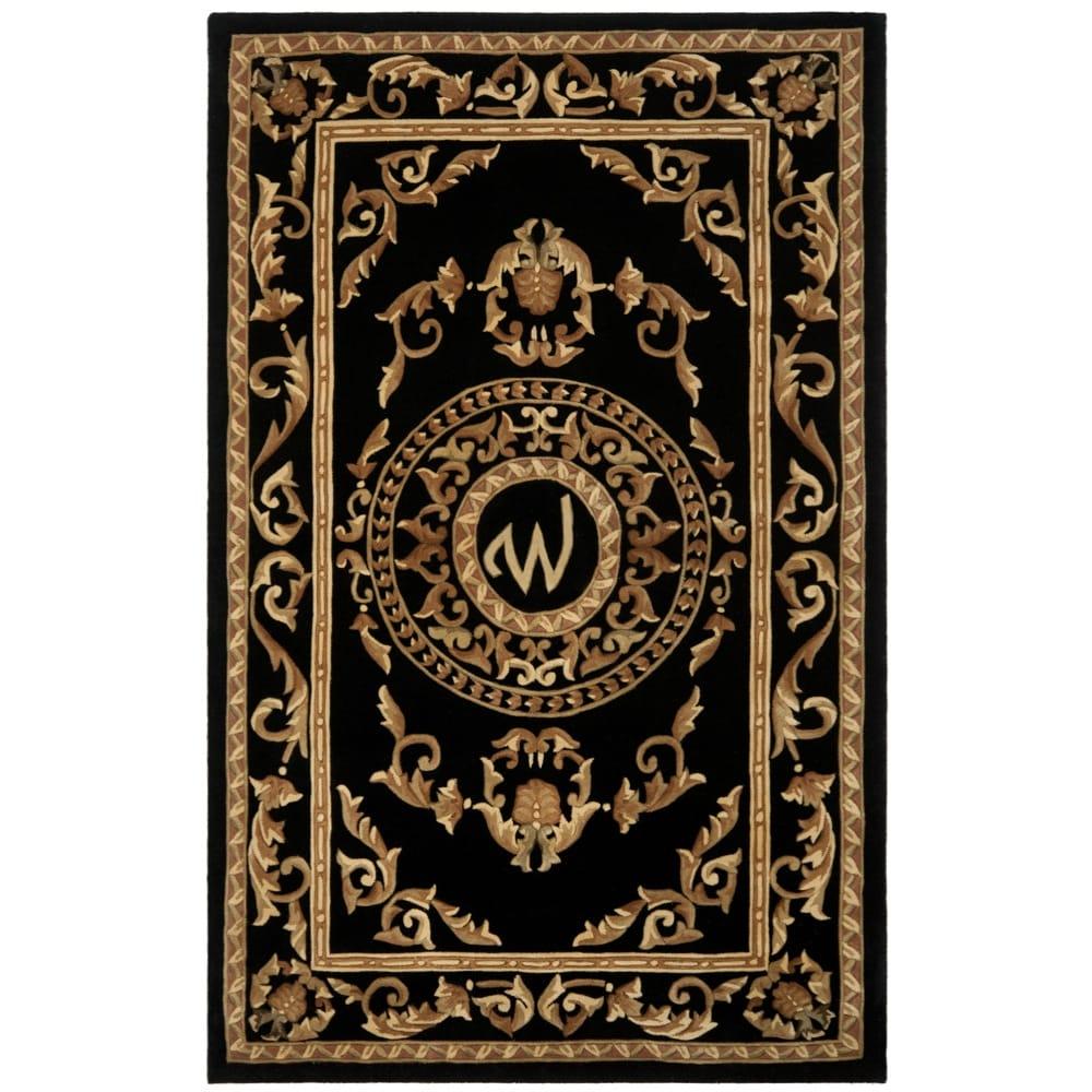 Safavieh Handmade Monogram W Black New Zealand Wool Rug