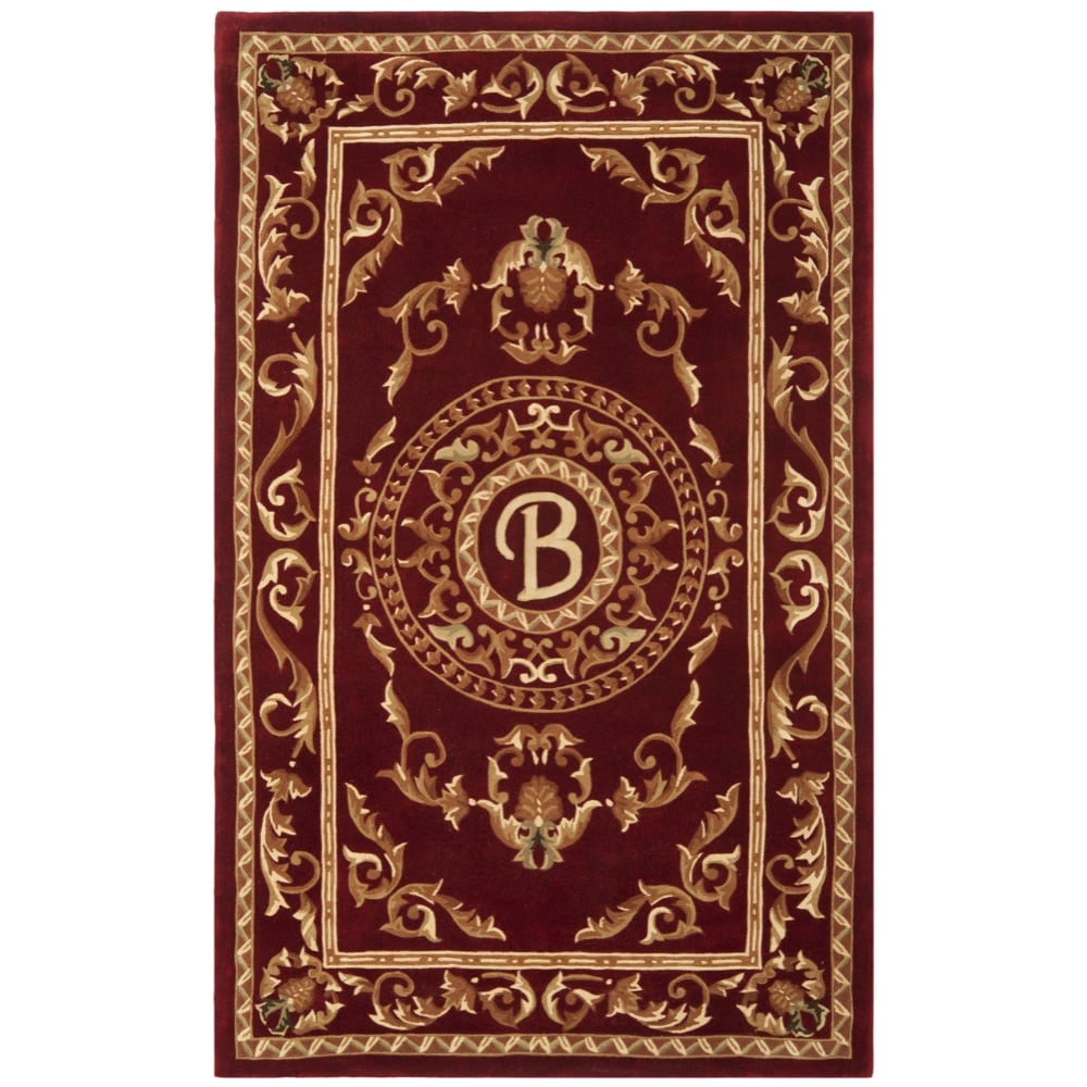 Safavieh Handmade Monogram B Red New Zealand Wool Rug