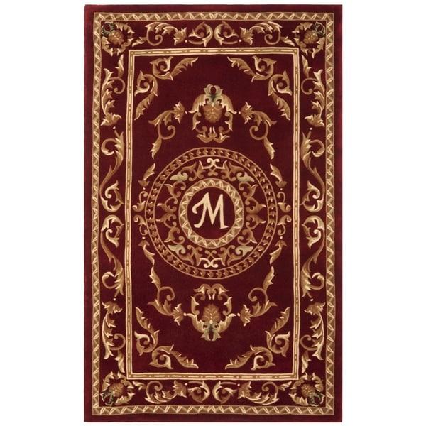 Safavieh Handmade Monogram M Red New Zealand Wool Rug