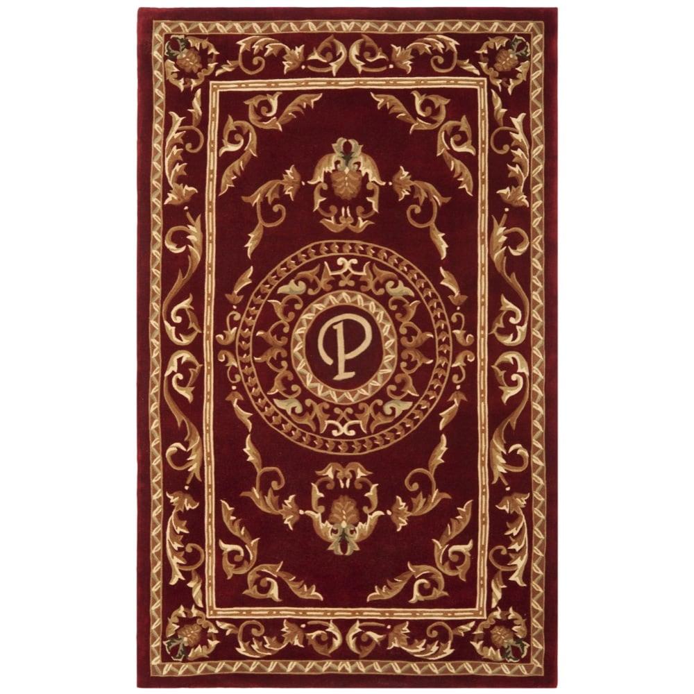 Safavieh Handmade Monogram P Red New Zealand Wool Rug