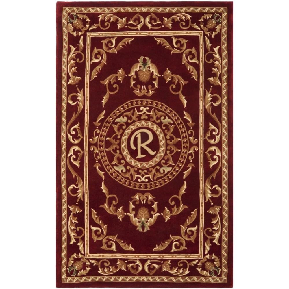 Safavieh Handmade Monogram R Red New Zealand Wool Rug