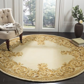 Safavieh Handmade Scrolls Border Beige New Zealand Wool Rug