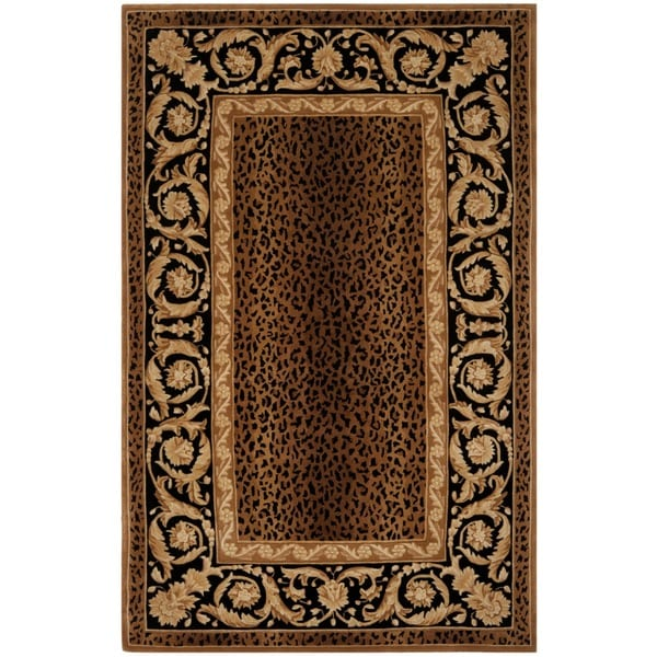 Safavieh Handmade Leopard Scrolls Brown New Zealand Wool Rug