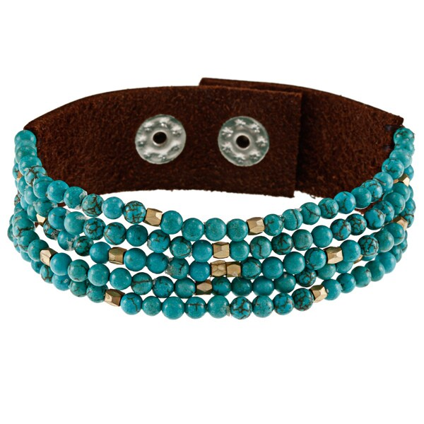 Turquoise and Brown Leather Wrap Bracelet