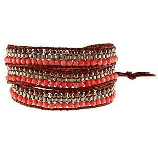 Leather and Goldtone Chain Coral Crystal 3-wrap Bracelet