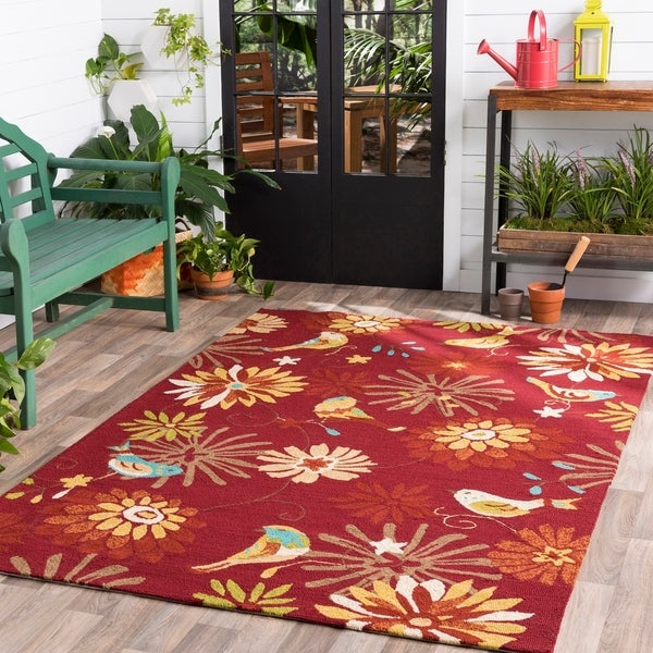 Hand-hooked Corral Indoor/Outdoor Floral Area Rug - 9' x 12'
