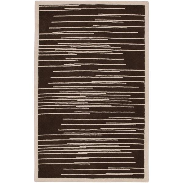 Hand-tufted Biggs Geometric Lines Wool Rug (2' x 3')