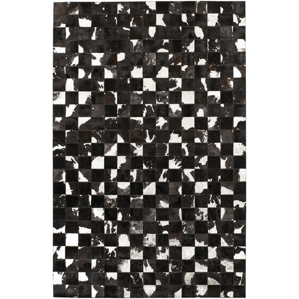 Hand-crafted Black Leather Animal Hide Geometric Squares Avery Rug (2' x 3')