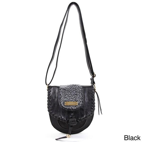 Nicole Lee 'Ava' Faux Leather Woolen Trim Shoulder Bag